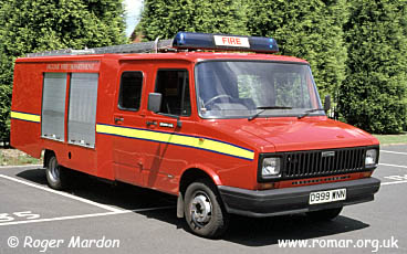 In June 2000 The Jaguar Car Plant At Browns Lane, Coventry, Was Protected  By This 1987 Freight Rover / FSE Light Pump, D999 WNN.